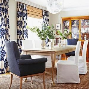 Blue and White Ikat Curtain Panels